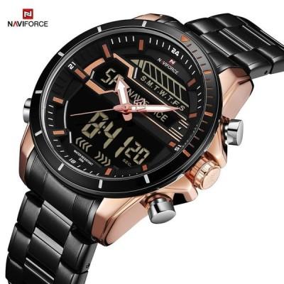 選べる5色 NAVIFORCE メンズ腕時計 クォーツ デュアルディスプレイ スポーツ ミリタリー