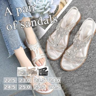 ミュールサンダル フラットシューズ レディース ポへミア風 ミュール 美脚  サンダル パーティー 夏 サンダル 疲れない 歩きやすい 通勤 オフィス