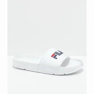 フィラ サンダル・ミュール Drifter White, Red & Navy Slide Sandals White