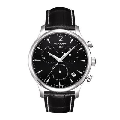 腕時計 [ティソ] TISSOT トラディション クオーツ ブラック文字盤 レザー