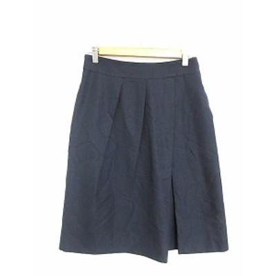 【中古】ノーリーズ Nolley's スカート 台形 ひざ丈 タック 38 紺 ネイビー /AAM42 レディース