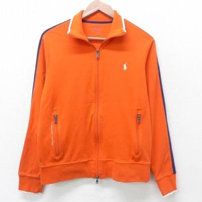 M/古着 長袖 ブランド ジャージ ラルフローレン Ralph Lauren ワンポイントロゴ オレンジ 21apr13 中古 メンズ アウター トラックジャケット