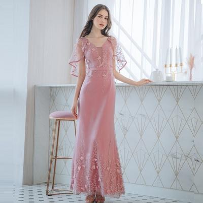 OMUSES 蕾絲刺繡魚尾訂製粉色長禮服