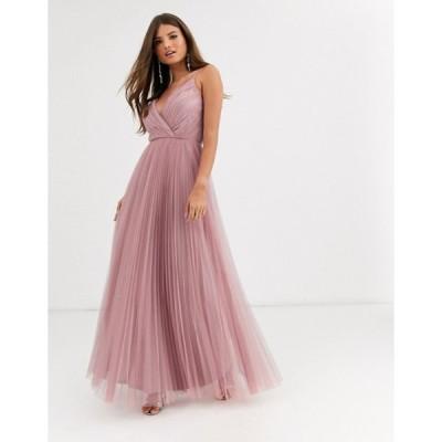 エイソス レディース ワンピース トップス ASOS DESIGN Fuller Bust cami pleat tulle maxi dress in light rose