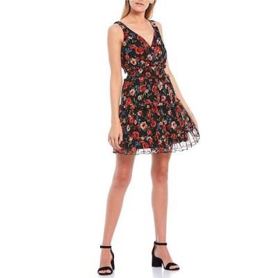 シティヴァイブ レディース ワンピース トップス Sleeveless V-Neck Floral Mesh Fit-and-Flare Dress