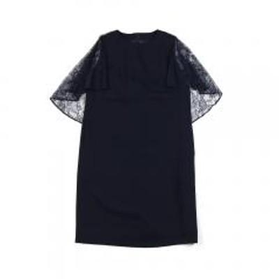 kaene(カエン)10%OFFクーポン対象商品 kaene カエン  フラワーレース ケープ風 ワンピース ドレス 100008 F(フリー) ネイビー(1) クーポンコード:7CLY8DW