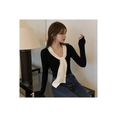 【送料無料】ボウタイ 長袖ブラック 気質 着やせ ニットシャツ 内側トップ 女 秋 | 364331_A63904-9187109