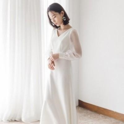 ウェディングドレス 白 二次会 花嫁 大きいサイズ 袖あり 長袖 ロングドレス 結婚式 スレンダーライン Vネック シースルー シンプル