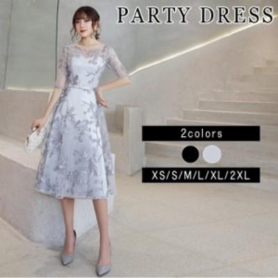 パーティードレス 結婚式 二次会 ワンピース 結婚式 お呼ばれドレス 結婚式 パーティードレス 袖あり 大きいサイズ 黒 レース ミモレ丈