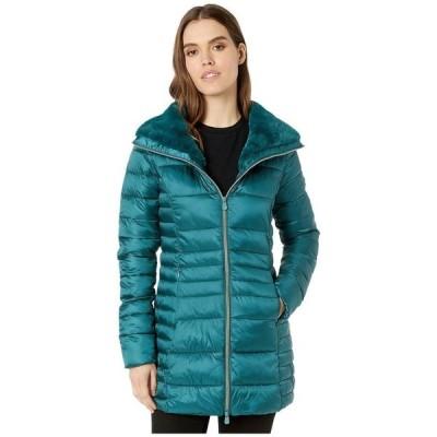 セイブ ザ ダック レディース コート アウター Iris 9 Puffer Coat with Faux Fur Lined Collar