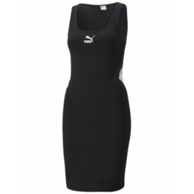 プーマ レディース ワンピース トップス Women's Ribbed Scoop-Neck Dress Puma Black