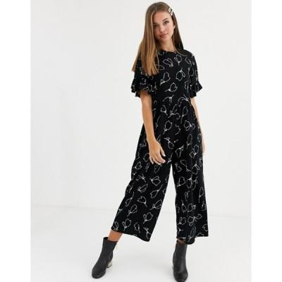 エイソス レディース ワンピース トップス ASOS DESIGN smock jumpsuit with frill sleeve in abstract mono floral print