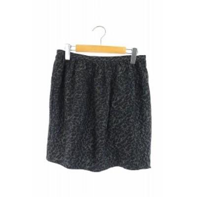 【中古】ドゥロワー Drawer スカート タイト ミニ タック シルク 総柄 38 黒 /AO ■OS レディース