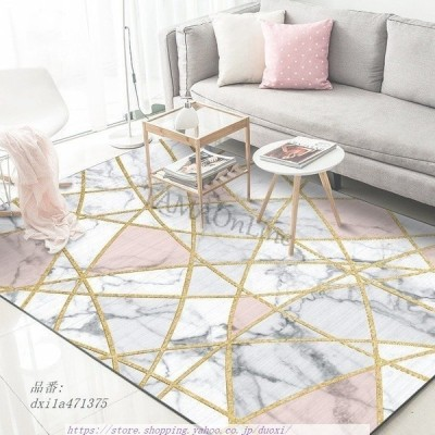 ソフトラグマット 大理石 幾何学的 ホワイト カーペット リビングルーム 寝室