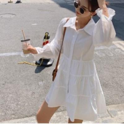 ティアードワンピース 韓国 ファッション レディース シャツワンピース シャツワンピ フレア リボン 長袖 ゆったり ショート ボリューム