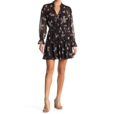 ラブスティッチ レディース ワンピース トップス Floral Ruffle Split Neck Mini Dress MIDNIGHT