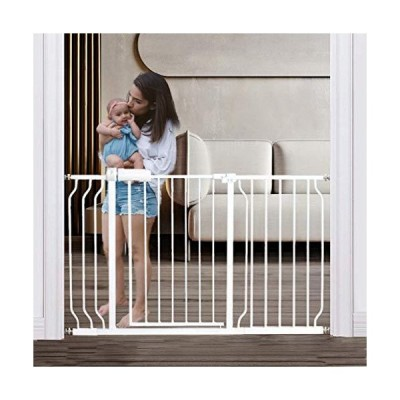 Extra Wide Baby Gate Pressure Mounted Auto Close White Metal Child Dog Pet Gate 48-53 Inch Wide for Stairs,Doorways,Kitchen and Living Room