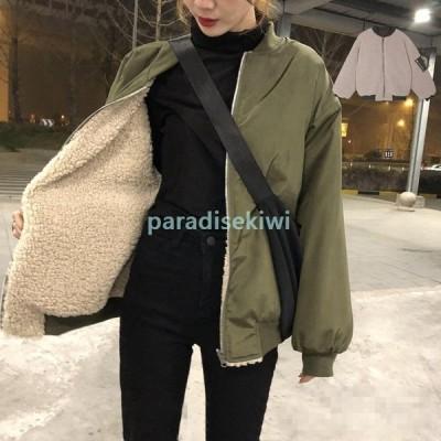 レディース野球服短装ジャケットきコート両面着る可能裏起毛綿入れアウタージャンパー防寒防風厚手保温高品質ジャケットあたたか冬服