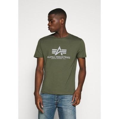 アルファインダストリーズ Tシャツ メンズ トップス BASIC REFLECTIVE - Print T-shirt - dark olive