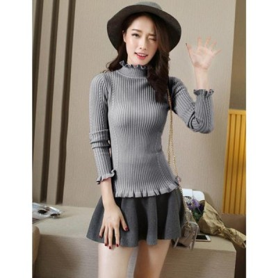 レディース 衣類 トップス Women Ribbed Knitted Pullover Sweaters Turtle Neck Ruffles Solid Slim Stretchy Jumpers Knitting Top