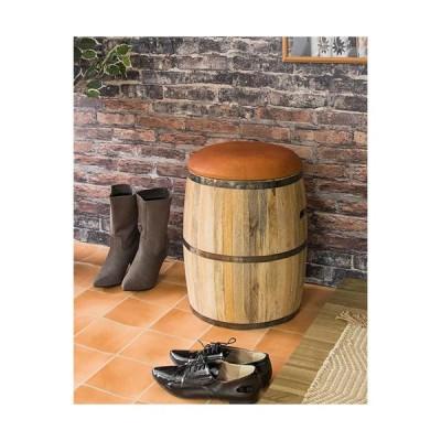 本革と天然木を使用した樽型の収納付きデザインスツール(ブラウン) 椅子 便利 リビング 玄関 インテリア 輸入家具 お洒落 シャビーシック デザイン