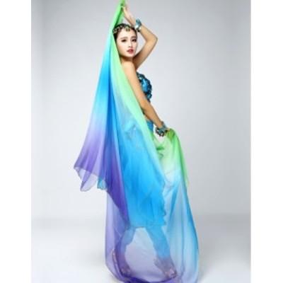 ベール グラデーション 緑青紫 シフォンベール 大判 ベリーダンス アラビアン アクセサリー 衣装 ベール オリエンタル ヒップホップ ダン