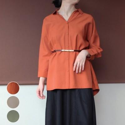 レディース ファッション 大きいサイズ 40代 30代 秋冬 カジュアル ナチュラル ゆったり 体形カバー シャツ Vネック 七分袖 オーバーサイズ