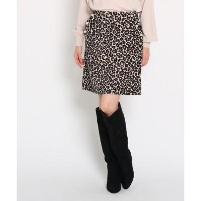 スカート 【GISELe12月号掲載】フェイクパール付きレオパード柄ミニスカート