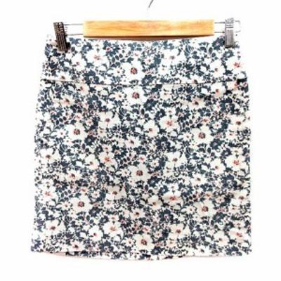 【中古】アダムエロペ Adam et Rope' スカート 台形 ミニ 花柄 36 グレー 白 ホワイト /RT レディース