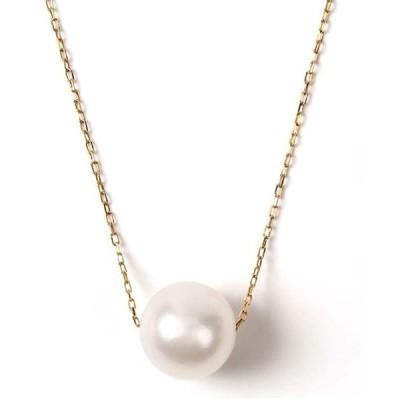 真珠 ネックレス PLUSTER K18 パールネックレス 宇和島真珠 あこや真珠 一粒 7mm - 7.5mm ゴールド レディース [ギフトケース