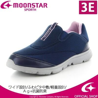 ムーンスター [残りサイズ22.5cm25.0cmセール] moonstar レディース ウォーキングシューズ SPLT L163 ネイビー 幅広3E 抗菌防臭
