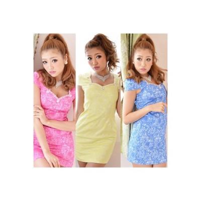 Dress Angelo ドレス キャバ ドレスキャバ ナイトドレス パーティードレスキャンディーカラー刺繍レースビジューミニワンピース 7038  キャ