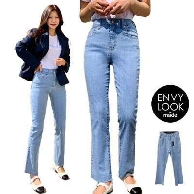 ENVYLOOK韓国ファッションカジュアルECサイト1位 ENVYLOOKエンビーメイドラクラクメッシュゴムセミブーツカットクールマックスデニムパンツONE COLOR送料無料
