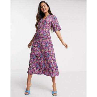 ワイエーエス レディース ワンピース トップス Y.A.S midi dress in bright floral print