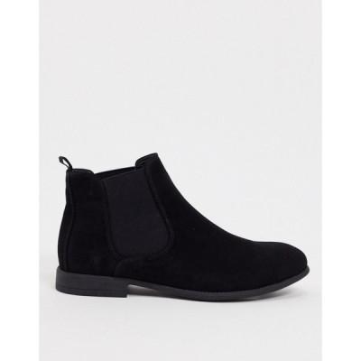 ニュールック New Look メンズ ブーツ チェルシーブーツ シューズ・靴 chelsea boot in black suede ブラック