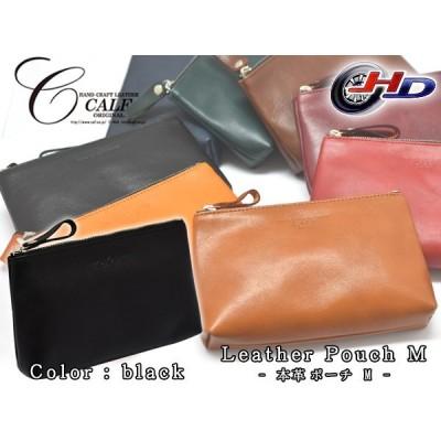 CALF カーフ 本革 レザーポーチ Mサイズ ブラック black 日本製 通帳入れ 皮革 小物入れ 皮革 Leather 黒 送料無料