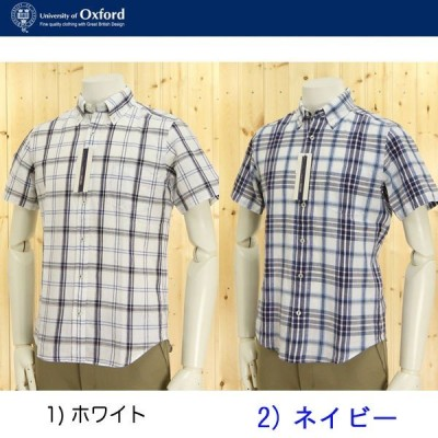 University of oxfordの半袖 麻混チェックシャツ/63158