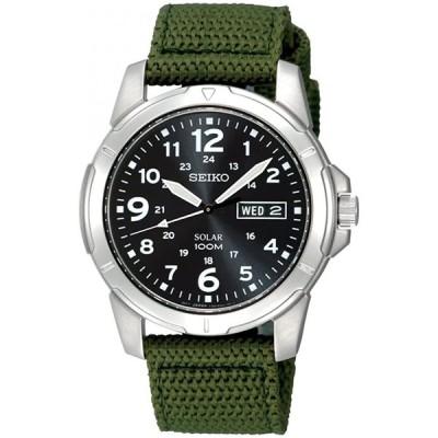 腕時計  Seiko Stainless Steel Solar Quartz Black Dial Green Nylon Strap 輸入品