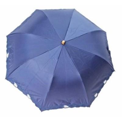 一級遮光 晴雨兼用 楽折傘 チェーン刺繍(27-5261-20 SBK121B)  ネイビー/オフ/ブラック 【送料無料】(アンブレラ、日傘、雨傘、折