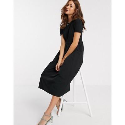 リバーアイランド レディース ワンピース トップス River Island poplin maxi t-shirt dress in black