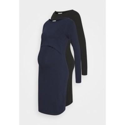 アンナ フィールド ママ レディース ワンピース トップス 2 PACK NURSING DRESS - Jersey dress - dark blue/black dark blue/black