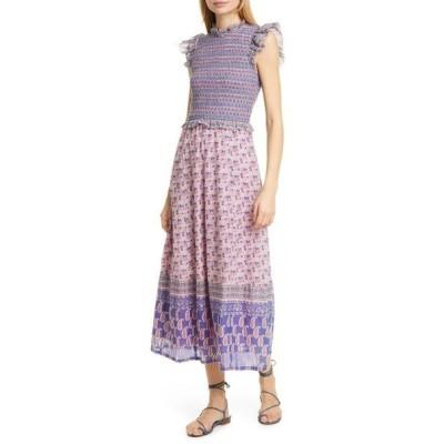 シー ワンピース トップス レディース Bianca Smocked Mixed Print Midi Dress Violet