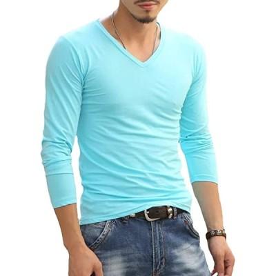 メリュエル 8カラー Vネック フィット 長袖 シンプル Tシャツ ワイルド 韓国ファッション メンズ(スカイブルー, XL)