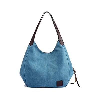 キャンバス バッグ トートバッグ 2way ショルダー バッグ ハンドバッグ 手提げバッグ レディース 可愛い 帆布 (ブルー Free)