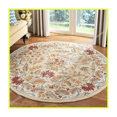 Safavieh Chelsea Collection HK141A Hand-Hooked Ivory Premium Wool Round Area Rug (4' Diameter) 並行輸入品