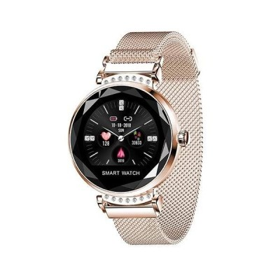 2021 New Luxury Smart Fitness Ladies Bracelet Blood Pressure Heart Rate Monitoring Wristband Ladies Watch Gifts for Friends (Gold)並行輸