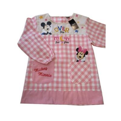 エプロン キッチンファブリック 割烹着 ディズニー 可愛い Disney ミッキー&ミニー割烹着 サービス品  ピンク 390670