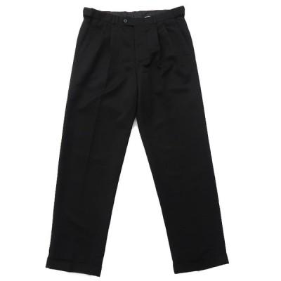 スラックス ツータック チノパンツ ブラック サイズ表記:W32L32