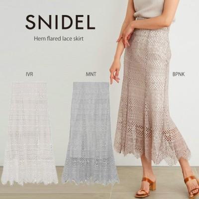 (5月上旬-6月上旬入荷予約)SNIDEL スナイデル 通販 ヘムフレアレーススカート swfs212038 レディース 2021春夏新作 オケージョン ボトムス