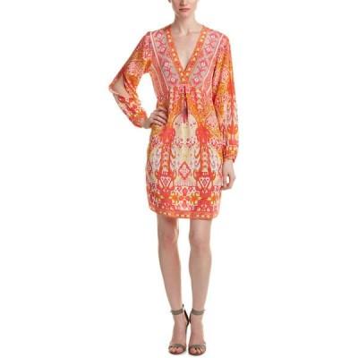 ヘイルボブ ワンピース トップス レディース Hale Bob Pleated Silk Shift Dress coral combo